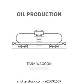 Logo railway tank waggon in linear style for oil production company or logistic company.