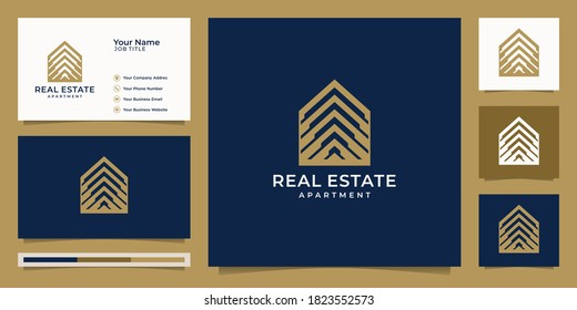 Logo real estate for construction,home,apartment,modern home,building, property.minimal awesome trendy professional logo design template and business card.Premium Vector