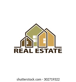 Logo real estate. Isolated on white background. Stock Vector.