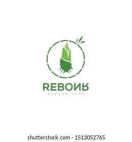 Logo reborn, by reversing letters for bamboo sprout vector