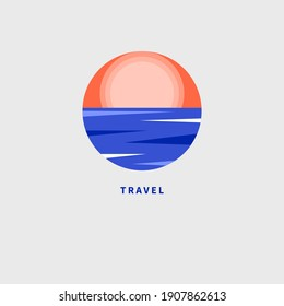 Logo for resort, hotel, travel agency, spa with sun and sea. Geometric abstract summer icon with ocean and sunrise. Vector illustration