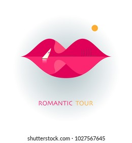 Logo of the romantic tour. Beautiful female lips. A creative sign for traveling. Concept with mountains, lake and sun.
