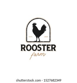 The logo of a rooster with a classic model for product labels, hens, laying hens, chicken farms, chicken meat sellers, chicken restaurants