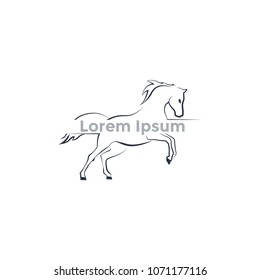 logo running horse, contour logo. Vector Illustration