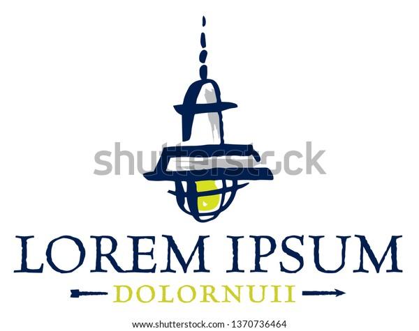 Logo Rustic Farmhouse Light Illustration Stock Vector (Royalty Free