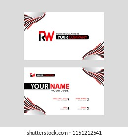 Logo RW design with a black and red business card with horizontal and modern design.