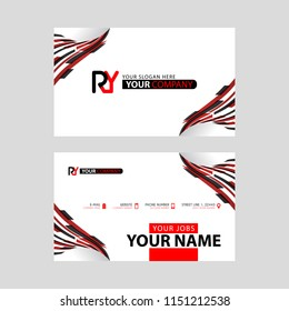 Logo RY design with a black and red business card with horizontal and modern design.