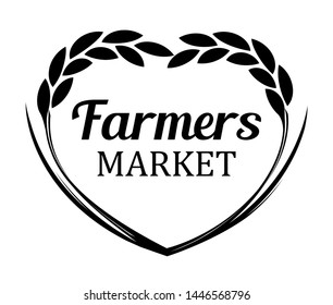 Logo with Rye Wheat for Farmers Market. Vector banner isolated on white background.