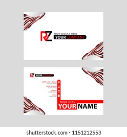 Logo RZ design with a black and red business card with horizontal and modern design.