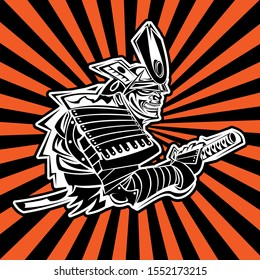 logo of a samurai in a fighting stance before an attack