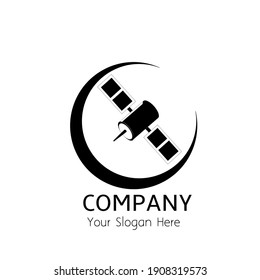 logo satellite with the moon, can be used as logo or brand