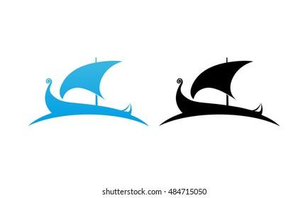 Logo of Scandinavian Drakkar Longship in black and blue color. Vector Illustration isolated on white.