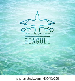 logo of seagull and waves, vector template for travel agency