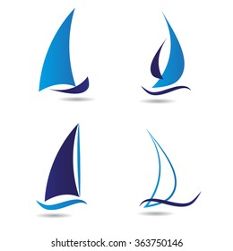 Logo set about sailboat or navigation. Vector icons for companies.
