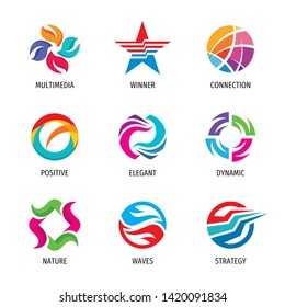 Logo set - abstract business sign. Strategy, dynamic, positive, success, multimedia, winner, nature, waves. Vector illustration.