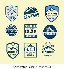 Logo Set Badges Adventure Mountain Explore