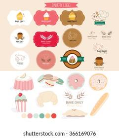 logo set for bakery. bakery element for decoration.