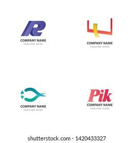 logo set bundle website graphic modern gradient creative logotype