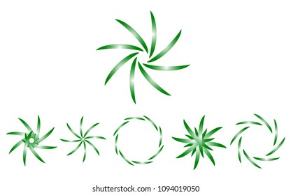 Logo set in colors green and white, the shape of a flower, the shape of rotating blades, moving energy. 6 pieces, consisting of 6 elements, natural eko style, gradient illustration