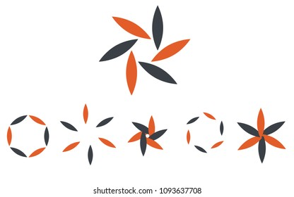 Logo set in colors orange and grey, the shape of a flower, the shape of rotating blades, moving energy.6 pieces, consisting of 6 elements.Organic eko style in popular color combination.