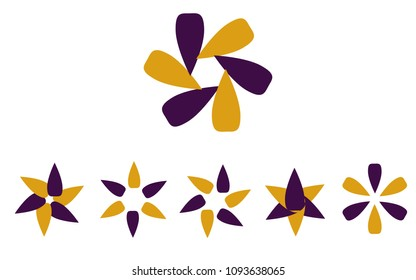 Logo set in colors yellow and blue, the shape of a flower, the shape of rotating blades, moving energy. 6 pieces, consisting of 6 elements, organic eko style in popular colors.
