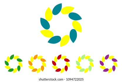 Logo set in colors yellow,blue,green,orange,violet,the shape of a flower, the shape of rotating blades, moving energy.6 pieces, consisting of 10 elements;eko style,organic products,vegan food
