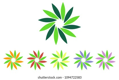 Logo set in green colors, the shape of a flower, the shape of rotating blades, moving energy. 6 pieces, consisting of 12 elements,eko style, organic products,vegan food