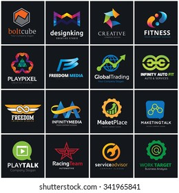 logo set, infinity ,automotive, marketing , Letterforms logo, infinity, Car services,  Fitness brand identity template.