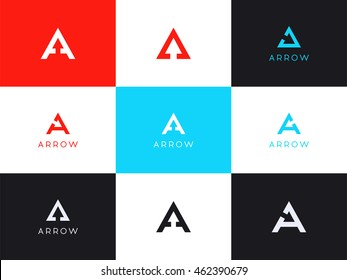 Logo Set with the initials letter A, with hidden arrow symbol. Vector smart marks set of letter A for company that continues to grow