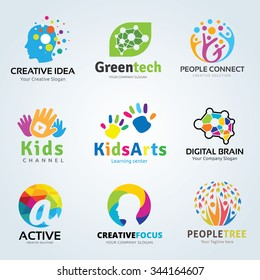 Logo set Kids arts and creative brain idea symbols collection for family, Ecology, Green technology, People colorful icons, vector brand identity concept.