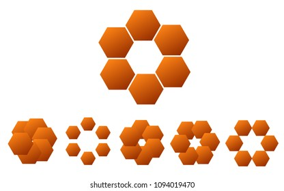 Logo set in orange colors, the shape of a flower, the shape of rotating blades, moving energy. 6 pieces, consisting of 6 elements, natural eko style, honey product; gold gradient.