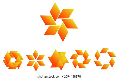 Logo set in orange colors, the shape of a flower, the shape of rotating blades, moving energy. 6 pieces, consisting of 6 elements, natural eko style, honey