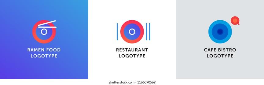 Logo set for restaurant, bistro, cafe, asian restaurant, ramen street food, chinese street food and etc.