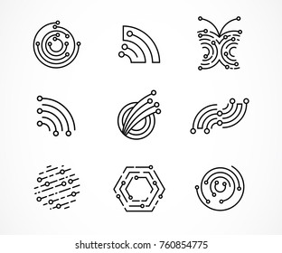 Logo set - technology, biotechnology, tech icons and symbols