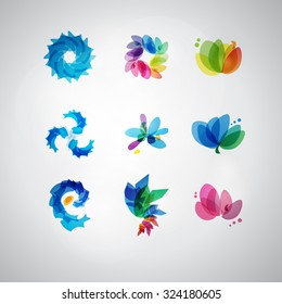 Logo Set. Vector. Abstract SPA Health beauty logo template. Abstract flower. Business abstract icon. As sign, symbol, web, label. logo. Vector illustration.