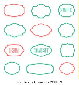 Logo set vintage labels and frame. Vector illustration EPS 10. Template retro decoration. Classical deco.