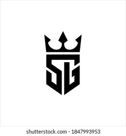 logo SG or GS with crown icon vector.