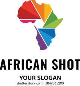 logo with shape of africa and shape of camera lens in the middle