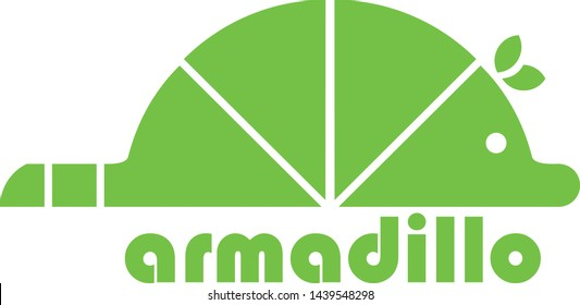 a logo in the shape of an armadillo mammal in green