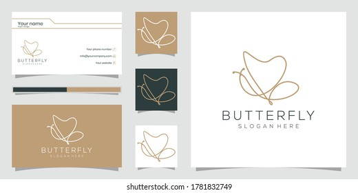 logo in the shape of a minimalist butterfly. beauty, luxury spa style. logo design, and business cards. Premium vector