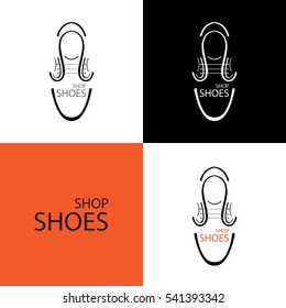 Logo for the shoe store. on different backgrounds