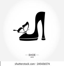 Logo shoe store, shop, fashion collection, boutique label. Company logo design.