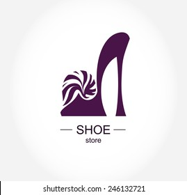 Logo shoe store, shop, fashion collection, boutique label. Company logo design.