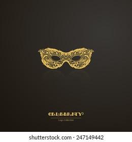 Logo show, VIP, celebrity, masquerade. Ornate carnival mask icon