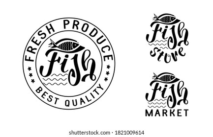 Logo, sign of a fish store, fresh fish supermarket. Hand drawing of letters. Isolated on a white background