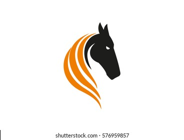 Logo sign icon template black horse head