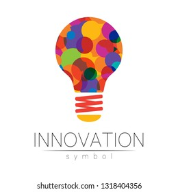 Logo sign of innovation in science. Lamp symbol for concept, business, technology, creative idea, web. Rainbow color isolated on white background. Logotype in vector. Futuristic design style