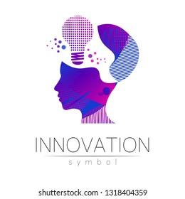 Logo sign of innovation in science. Lamp symbol and human head for concept, business, technology, creative idea, web. Rainbow color isolated on white background. Logotype in vector. Futuristic design.