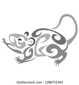Logo silhouette of a mouse rat with curls of gray. Vector illustration