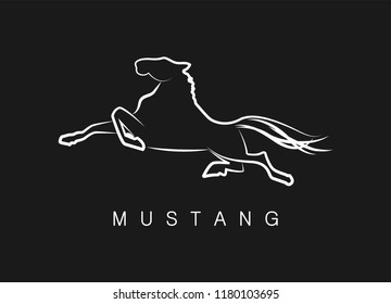 Logo, silhouette of a running horse. A simple, memorable logo of a running horse. Vector illustration of a mustang, silhouette design